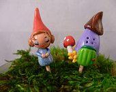 Little Gnome Girl and Mushroom House Polymer Clay Terrarium Picks