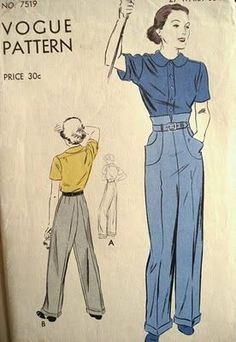High waist 1930s pants. I should try to put pockets on my 40's pants like this. #vintagesewingpatterns