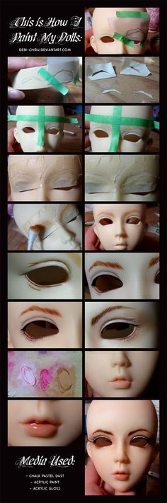 Doll Painting Process by Cospigeon on DeviantArt WARNING: FULLSIZE IS HUGE! Proudly presenting my last tutorial with most labour-intensive and the most realistic BJD wig. My previous wig tutorial is here: Tutorial: anatomical wig w… Sculpting Tutorials, Doll Making Tutorials, Clay Tutorials, New Dolls, Ooak Dolls, Doll Crafts, Diy Doll, Doll Painting, Polymer Clay Dolls