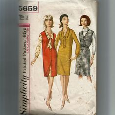 Simplicity Misses' One Piece Dress , Jumper and Tie Pattern 5659 by NewAgain on Etsy