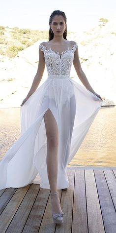 30 Lace Bridal Gowns Of Your Dream ❤ lace bridal gowns beach flowy lace top illusion neckline demetrios ❤ Simple Sexy Wedding Dresses, Best Wedding Dresses, Boho Wedding Dress, Wedding Bride, Gown Wedding, Lace Wedding, Lillian West, Bridal Lace, Bridal Gowns