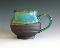 Large Coffee Mug Holds 17 oz handmade ceramic cup by ocpottery, $25.00  this would be a gift to me.  My colors