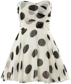 Tfnc White Polka Dot Bandeau Dress