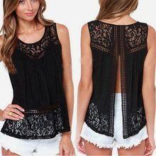 la camisa del chaleco del cordón de las mujeres del verano de la gasa sin mangas…