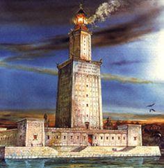 el antiguo faro de alejandrina, una de las siete maravillas antiguas de la humanidad