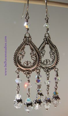 www.belhavenstudios Crystal clear Swarovski crystals with aurora borealis finish Ornate Balinese Chandelier components sterling silver earrings