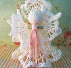 A completed vintage crochet angel ornament