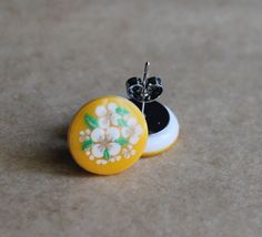 Cute Floral Earrings  Vintage Yellow with White by MissMalaprop