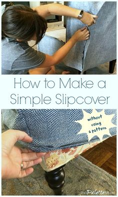 It was easier than I thought to make these slipcovers for my living room chairs! I'm showing you how to do it with no sewing pattern just using a little common sense to piece together your own pattern. Grab a pencil and paper and your measuring tape! Furniture Projects, Furniture Makeover, Chair Makeover, Diy Furniture Covers, Furniture Design, Painting Furniture, Furniture Stores, Sewing Tutorials, Sewing Projects
