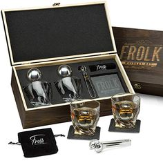 Premium Whiskey Stones Gift Set for Men - 2 King-Sized Chilling Stainless-Steel Whiskey Balls - 11 oz 2 Large Twisted Whiskey Glasses, Slate Stone Coasters, Tongs - Luxury Set in Real Pine Wood Box Father In Law Gifts, Slate Coasters, Slate Stone, 50th Birthday Gifts, Birthday Quotes, Birthday Cake, Whiskey Glasses, Wood Boxes, Memorable Gifts