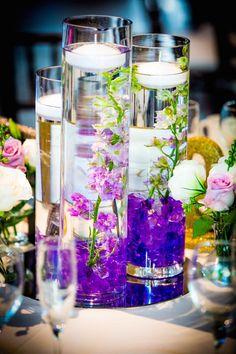 Purple Wedding Centerpieces ~ Brett Charles Rose Photo