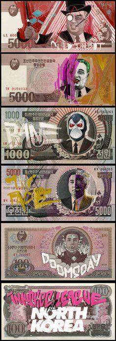 North Korean money defaced with Justice League Villains : Artist Aslan Malik