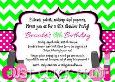 Spa party invitation spa invitation invite spa birthday party spa girls chevron spa slumber party pampering birthday invitation printable filmwisefo