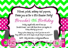 Spa Day Invitation Girl Birthday Party PRINTABLE More Girl
