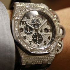 Audemars Piguet redo of the Royal Oak Offshore T3 (Terminator 3) #watch with fill pave diamonds. Has an optional bracelet too. Something like 50mm wide. Super ridiculous bling for the  T3 Offshore king.