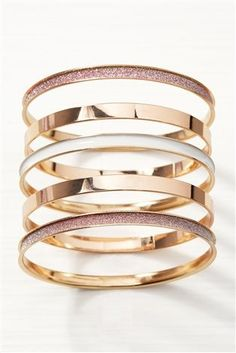 Buy Rose Gold Tone Enamel And Glitter Bangle Pack from the Next UK online shop