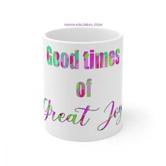 Incredible Good Times Of Great Joy MugThispiece of art makes a great gift for Christmas, any occasion, or for personal use to enjoy your warm drinkswith joy.Ceramic11oz mug dimensions: height - 3.85 Unique Gifts, Great Gifts, Christian Gifts, Good Times, Celebrations, Art Pieces, The Incredibles, Joy, Warm