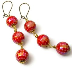 Red Earrings, Party Earrings, Cool Unique Jewelry. $12.00, via Etsy. #BluKatDesign