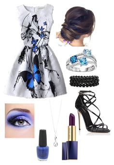 """Butterfly Blue"" by whereangelscry on Polyvore featuring Dolce&Gabbana, OPI, Bling Jewelry, Elements and Estée Lauder"