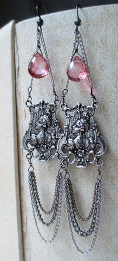 'l a d i e s'  chain chandelier earrings with pink quartz by The French Circus, $42.00