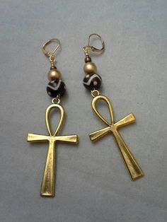 Beautiful Beads and Ankh Symbol Earrings.