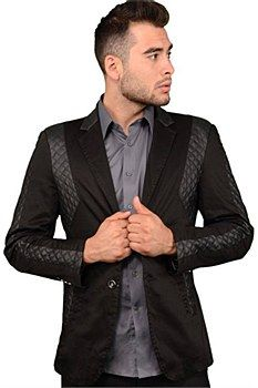 PLATINI 4078 BLAZER BLACK S This slim fit blazer is made with a leather quilted style along the arms and torso of the jacket to give it a versatile look. Made with the modern slim fit style in menswear, it is slim along the sides and arms and cut short.