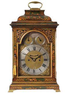 An English Lacquered Chinoiserie Bracket Clock Circa 1750