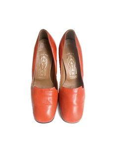 size5 /   70s french leather orange shoes mod by lesclodettes, $65.00