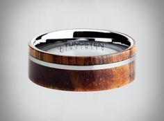 Koa Wood Tungsten Ring