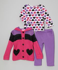 Take a look at this Young Hearts Pink & Purple Heart Hooded Sweater Set - Infant, Toddler & Girls on zulily today!