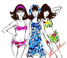 yukikohanaiさんはInstagramを利用しています:「illustration トロピカル サマー #yukikohanai #ユキコハナイ #花井幸子 #fashion #hanaiillustration #たおやかに美しく #followme #summer #resort #beach #bikinigirls…」