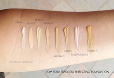 The Beauty Look Book: Tom Ford Beauty Traceless Perfecting Foundation SPF15 Swatches