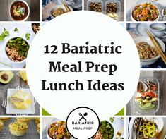Here are 12 bariatric meal prep lunch ideas to help you stay on target after bariatric surgery. They are high in protein and low in carb. High Protein Lunch Ideas, High Protein Recipes, Bariatric Eating, Bariatric Surgery, Vsg Surgery, Weight Loss Surgery, Prepped Lunches, Work Lunches, Pureed Food Recipes