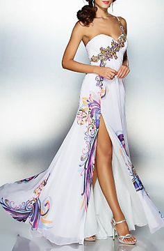 A-line Sweetheart Floor-length Chiffon Evening Dress