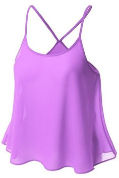 Simple Design Spaghetti Strap Candy Color Women's Tank Top - PURPLE L