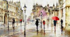As Cores Da Arte: Richard Macneil Rain Street, Street Art, Colombian Art, Artwork Display, Korean Art, China Painting, Cross Paintings, Western Art, Ancient Art