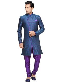 Plus Size PRDP Teal Blue N Purple Indowestern Sher