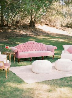 Founder and owner of the fashion brand, Rebecca Bree shares her Malibu wedding photos with Style Me Pretty, and the entire day at Saddlerock Ranch is a dream. With a soft palette of pink-on-pink and l. Soft Seating, Lounge Seating, Lounge Sofa, Lounge Areas, Outdoor Seating, Outdoor Sofa, Outdoor Decor, Seating Areas, Outdoor Living
