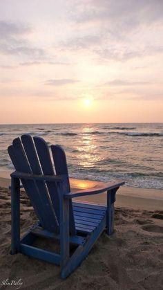 Sandy Beach with Blue Adirondack chair Playa Beach, Ocean Beach, Beach Day, Ocean Sunset, Beach Trip, Summer Beach, Ocean Quotes, Beach Quotes, I Love The Beach