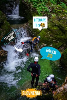 """To be a CANYONING GUIDE😃 . """"It is literary a dream job"""" @jernej_vukotic . Natural jacuzzis, divine water pools, happy people, and so much more is happening on the canyoning activity. What Activities, Outdoor Activities, Abseiling, Julian Alps, Night Scenery, Lake Bled, Rappelling, Ice Climbing, Happy People"""