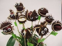 This looks so cool - insert the sticks before they open, watch and wait and then put the eyes on once the conkers are revealed! More pictures in the link Fun Crafts For Kids, Diy For Kids, Diy And Crafts, Arts And Crafts, Fall Halloween, Halloween Crafts, Halloween Decorations, Christmas Crafts, Autumn Crafts
