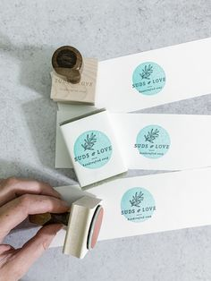 """Custom Stamp - Natural Handcrafted Soap - Logo Stamp - Heritage Type Co. - Custom Stamp - Natural Handcrafted Soap - Logo Stamp Imagine checking off """"get professional logo + packaging"""" so you can get back to making beautiful work. Handmade Soap Packaging, Simple Packaging, Jewelry Packaging, Brand Packaging, Packaging And Labeling, Product Packaging, Packaging Ideas, Cute Packaging, Handmade Soaps"""