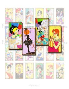 Art Deco Girls Digital Collage Sheet Domino by RetrofairGraphics