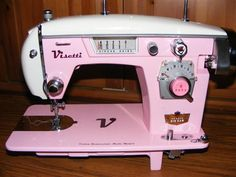 Pink and white Visetti Vintage Sewing Machine