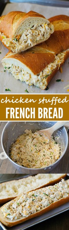stuffed french bread is always a winner. The chicken mixture is so flavorful!This stuffed french bread is always a winner. The chicken mixture is so flavorful! Think Food, I Love Food, Good Food, Yummy Food, Great Recipes, Game Recipes, Campfire Recipes, Campfire Food, Lunch Recipes