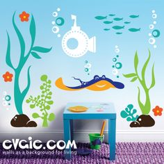 Underwater Wall Decal –  Sea Theme Wall Stickers – evgie
