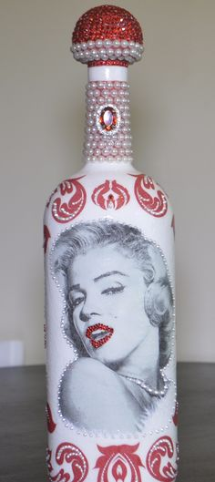 Marilyn Monroe Decoupage Wine Bottle