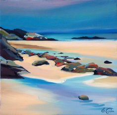 Pam Carter, Kiloran Rocks  oil 16″x16″