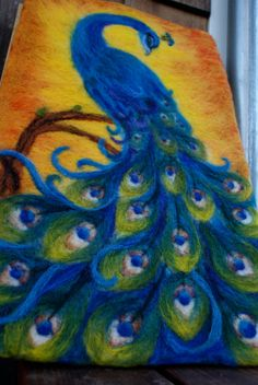Hand Felted Peacock Tapestry by NaliiOnEtsy on Etsy by Manueeltje Tapestry Fabric, Tree Tapestry, Fabric Art, Needle Felted Animals, Felt Animals, Nuno Felting, Needle Felting, Felt Pictures, Creative Textiles