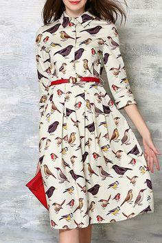 Swallow Print Shirt Collar 3/4 Sleeve Dress